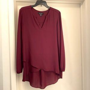 Burgundy Karen Kane Crossover Hem blouse